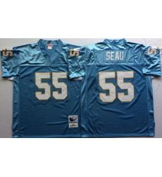 Men Nike Los Angeles Chargers 55 Junior Seau Light Blue M&N Throwback Jersey