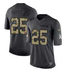 Nike Chargers 25 Chris Harris Jr Black Men Stitched NFL Limited 2016 Salute to Service Jersey