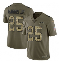 Nike Chargers 25 Chris Harris Jr Olive Camo Men Stitched NFL Limited 2017 Salute To Service Jersey