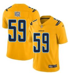 Nike Los Angeles Chargers 59 Nick Vigil Gold Men Stitched NFL Limited Inverted Legend Jersey