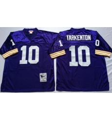 Men Minnesota Vikings 10 Fran Tarkenton Purple M&N Throwback Jersey