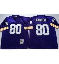 Men Minnesota Vikings 80 Cris Carter Purple M&N Throwback Jersey