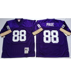 Men Minnesota Vikings 88 Alan Page Purple M&N Throwback Jersey