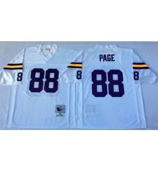 Men Minnesota Vikings 88 Alan Page White M&N Throwback Jersey