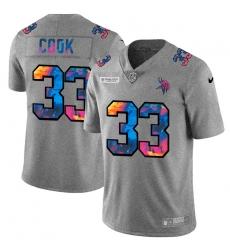 Minnesota Vikings 33 Dalvin Cook Men Nike Multi Color 2020 NFL Crucial Catch NFL Jersey Greyheather