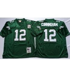 Men Philadelphia Eagles 12 Randall Cunningham Green M&N Throwback Jersey