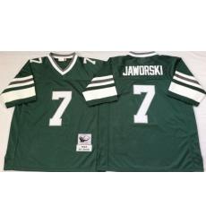 Men Philadelphia Eagles 7 Ron Jaworski Green M&N Throwback Jersey