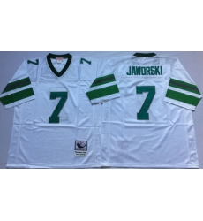 Men Philadelphia Eagles 7 Ron Jaworski White M&N Throwback Jersey