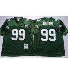 Men Philadelphia Eagles 99 Jerome Brown Green M&N Throwback Jersey