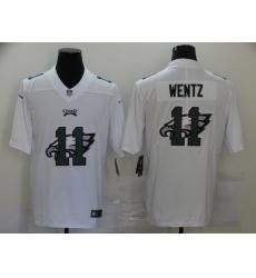 Nike Philadelphia Eagles 11 Carson Wentz White Shadow Logo Limited Jersey