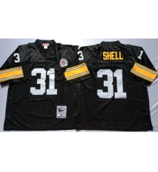 Men Pittsburgh Steelers 31 Donnie Shell Black M&N Throwback Jersey