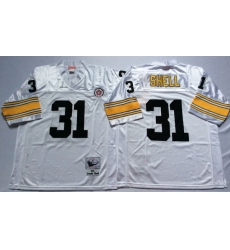 Men Pittsburgh Steelers 31 Donnie Shell White M&N Throwback Jersey