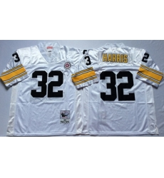 Men Pittsburgh Steelers 32 Franco Harris White M&N Throwback Jersey