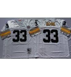 Men Pittsburgh Steelers 33 Merril Hoge White M&N Throwback Jersey