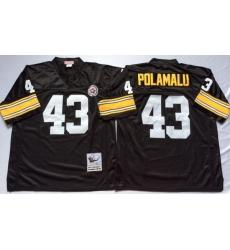 Men Pittsburgh Steelers 43 Troy Polamalu Black M&N Throwback Jersey