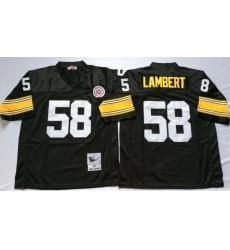 Men Pittsburgh Steelers 58 Jack Lambert Black M&N Throwback Jersey