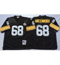 Men Pittsburgh Steelers 68 L. C. Greenwood Black M&N Throwback Jersey