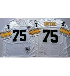 Men Pittsburgh Steelers 75 Joe Greene White M&N Throwback Jersey