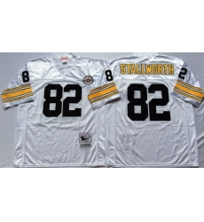 Men Pittsburgh Steelers 82 John Stallworth White M&N Throwback Jersey