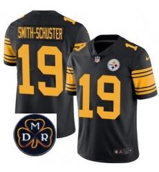 Mens Nike Pittsburgh Steelers 19 JuJu Smith Schuster Limited Black Rush Vapor Untouchable NFL MDR Patch Jersey