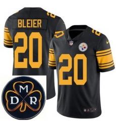Men's Nike Pittsburgh Steelers #20 Rocky Bleier Elite Black Rush NFL MDR Dan Rooney Patch Jersey