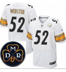 Men's Nike Pittsburgh Steelers #52 Mike Webster Elite White NFL MDR Dan Rooney Patch Jersey