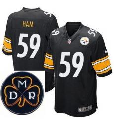 Men's Nike Pittsburgh Steelers #59 Jack Ham Elite Black NFL MDR Dan Rooney Patch Jersey