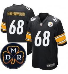 Men's Nike Pittsburgh Steelers #68 L.C. Greenwood Elite Black NFL MDR Dan Rooney Patch Jersey