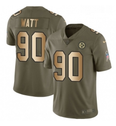Mens Nike Pittsburgh Steelers 90 T J Watt Limited OliveGold 2017 Salute to Service NFL Jersey