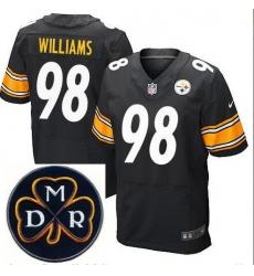 Men's Nike Pittsburgh Steelers #98 Vince Williams Elite Black NFL MDR Dan Rooney Patch Jersey