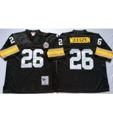 Mitchell And Ness Steelers #26 Woodson Black Throwback Stitched NFL Jersey