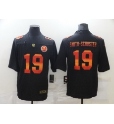 Nike Pittsburgh Steelers 19 JuJu Smith Schuster Black Colorful Fashion Limited Jersey