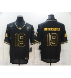 Nike Pittsburgh Steelers 19 JuJu Smith Schuster Black Gold 2020 Salute To Service Limited Jersey
