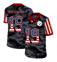 Nike Pittsburgh Steelers 19 JuJu Smith Schuster Camo 2020 USA Flag Salute To Service Limited Jersey