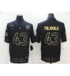 Nike Pittsburgh Steelers 43 Troy Polamalu Black 2020 Salute To Service Limited Jersey