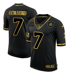 Nike Pittsburgh Steelers 7 Ben Roethlisberger Black Gold 2020 Salute To Service Limited Jersey