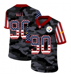 Nike Pittsburgh Steelers 90 T J  Watt Camo 2020 USA Flag Salute To Service Limited Jersey