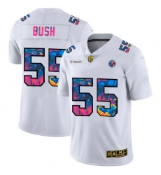 Pittsburgh Steelers 55 Devin Bush Men White Nike Multi Color 2020 NFL Crucial Catch Limited NFL Jersey