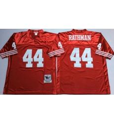 Men San Francisco 49ers 44 Tom Rathman Red M&N Throwback Jersey