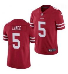 Men San Francisco 49ers #5 Trey Lance Jersey Scarlet 2021 Limited Football