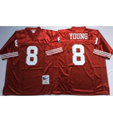 Men San Francisco 49ers 8 Steve Young Red M&N Throwback Jersey