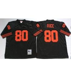 Men San Francisco 49ers 80 Jerry Rice Black M&N Throwback Jersey