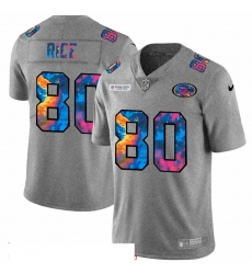 Men San Francisco 49ers 80 Jerry Rice Men Nike Multi Color 2020 NFL Crucial Catch NFL Jersey Greyheather