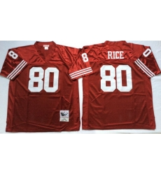 Men San Francisco 49ers 80 Jerry Rice Red M&N Throwback Jersey
