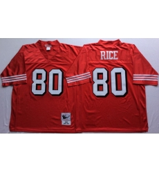 Men San Francisco 49ers 80 Jerry Rice Red Vintage M&N Jersey