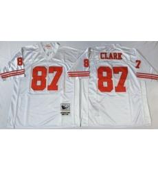 Men San Francisco 49ers 87 Dwight Clark White M&N Throwback Jersey