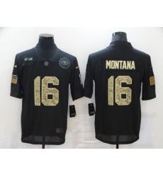 Nike San Francisco 49ers 16 Joe Montana Black Camo 2020 Salute To Service Limited Jersey