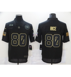 Nike San Francisco 49ers 80 Jerry Rice Black 2020 Salute To Service Limited Jersey