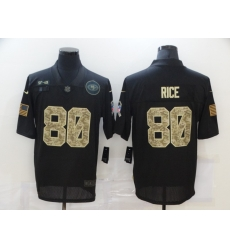 Nike San Francisco 49ers 80 Jerry Rice Black Came 2020 Salute To Service Limited Jersey