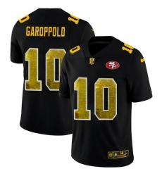 San Francisco 49ers 10 Jimmy Garoppolo Men Black Nike Golden Sequin Vapor Limited NFL Jersey